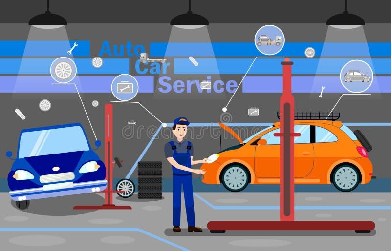 Auto Car Service Options Promo Banner Template vector illustration