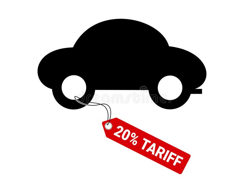Auto and car with 20% tariff. Duty is imposed on vehicles export and import. Trade war and automotive industry. Vector illustration stock illustration