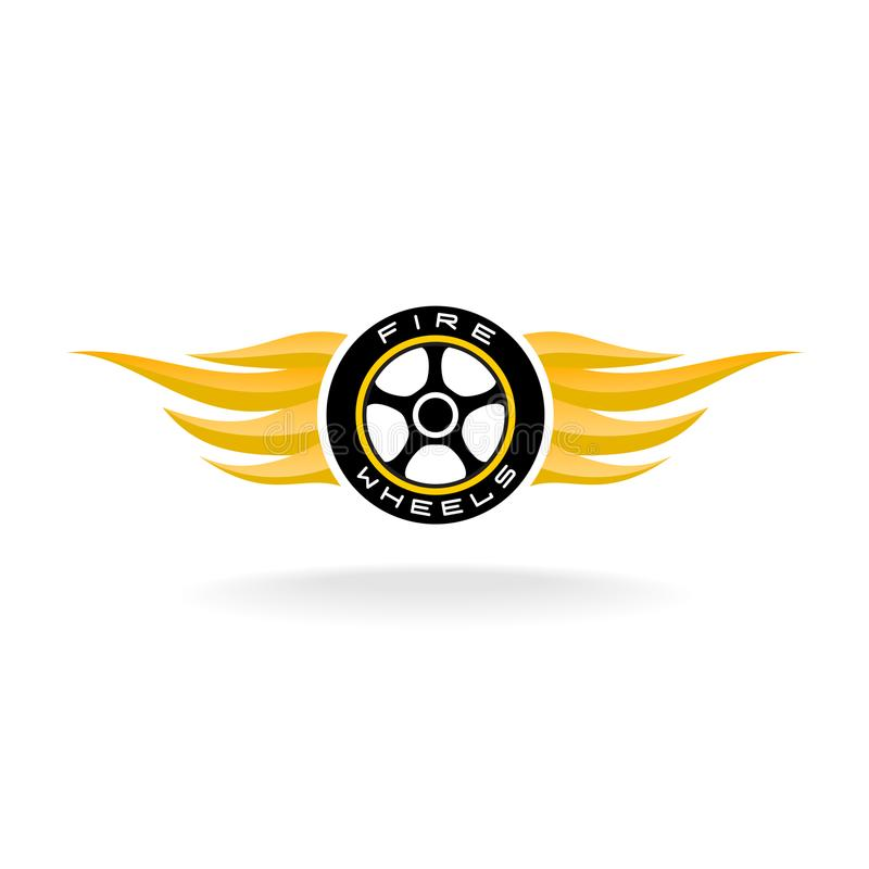Auto car whell with fire wings logo vector illustration