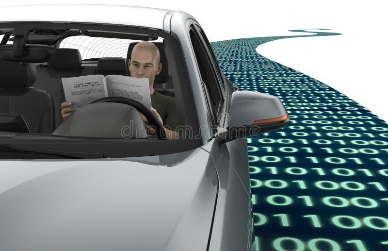 Auto che conduce l'automobile del computer elettronico sulla strada illustrazione vettoriale