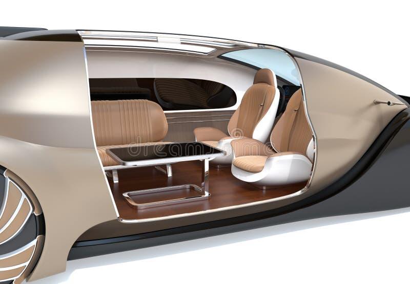 Auto che determina l'interno dell'automobile elettrica con la sedia di salotto ed i sedili d'affronto posteriori fotografia stock libera da diritti