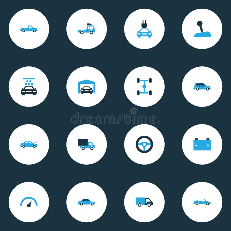 Auto Colorful Icons Set. stock illustration
