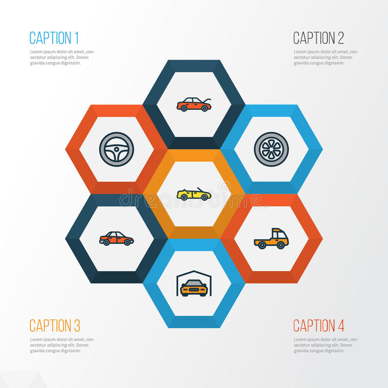 Auto Colorful Outline Icons Set. Collection Of Sport, Car, Pickup And Other Elements. Also Includes Symbols Such As vector illustration
