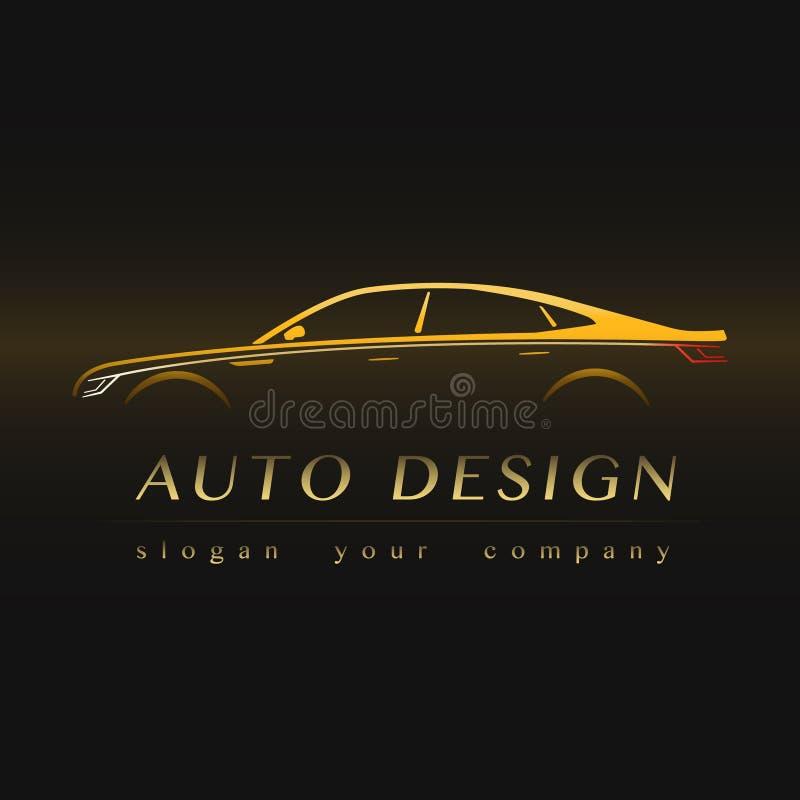 Auto Company Yellow Logo. Vector Design Concept with Sports Car Silhouette vector illustration