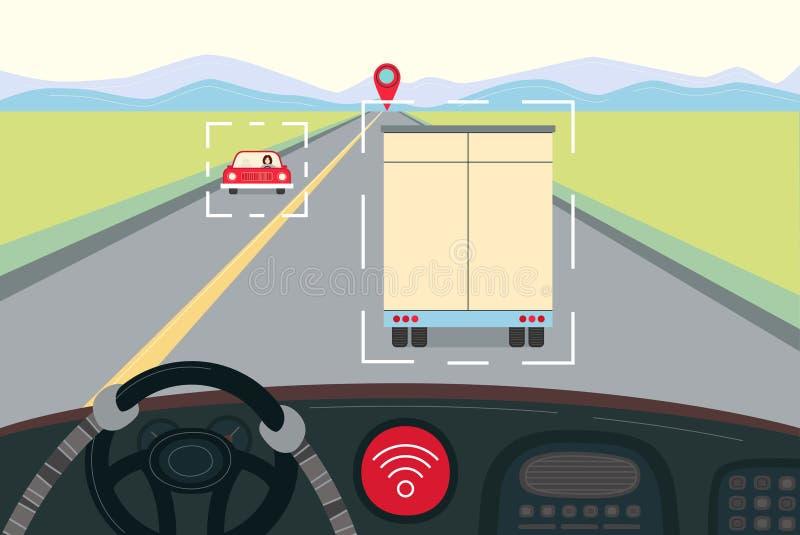 Auto-conduisant le camion drived par le robot illustration libre de droits