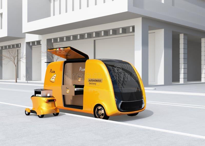 Auto-conduzindo a camionete e o zangão de entrega da pizza na rua ilustração royalty free