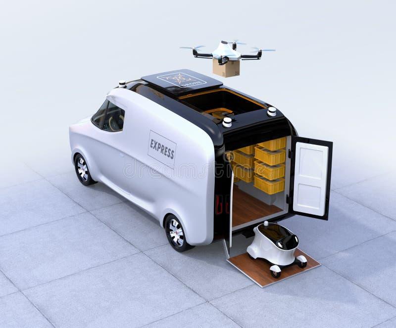 Auto-conduzindo a camionete, o zangão e o robô ilustração stock