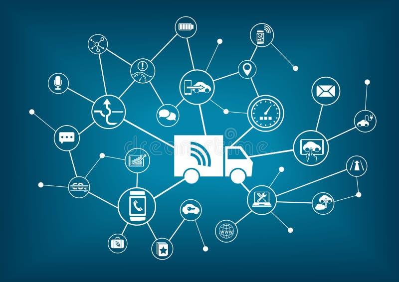 Auto-conduzindo os caminhões infographic ilustração stock