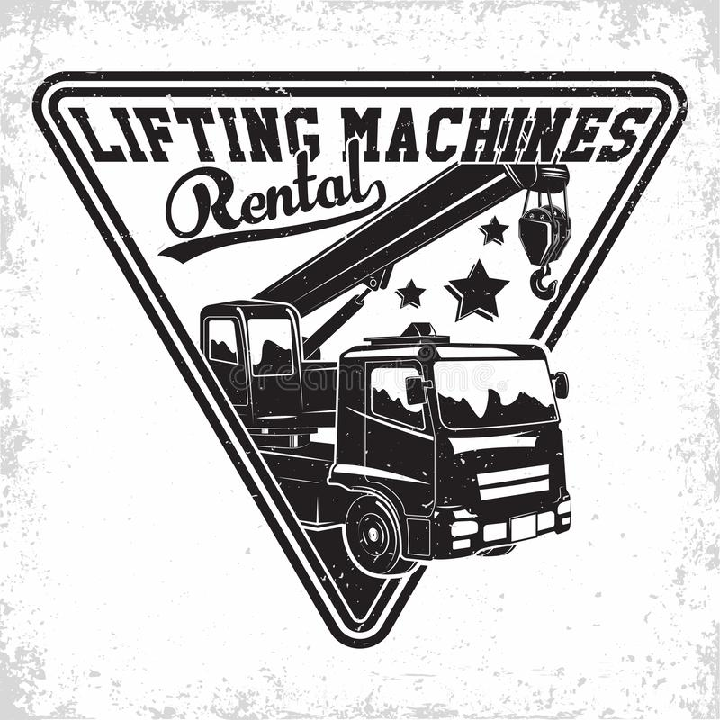 Auto crane emblem design. Lifting work logo design, emblem of crane machine rental organisation print stamps, constructing equipment, Heavy crane machine royalty free illustration