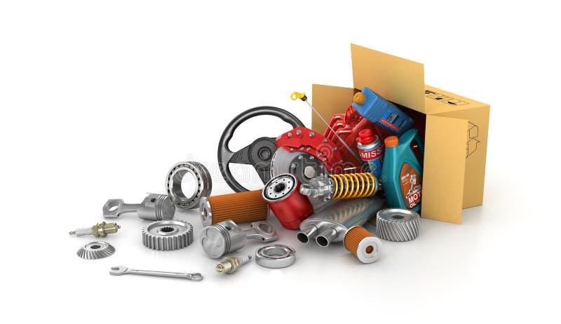 Auto części w kartonach ilustracja wektor