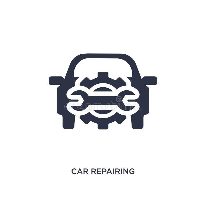 Auto, das Ikone auf weißem Hintergrund repariert Einfache Elementillustration von mechanicons Konzept stock abbildung