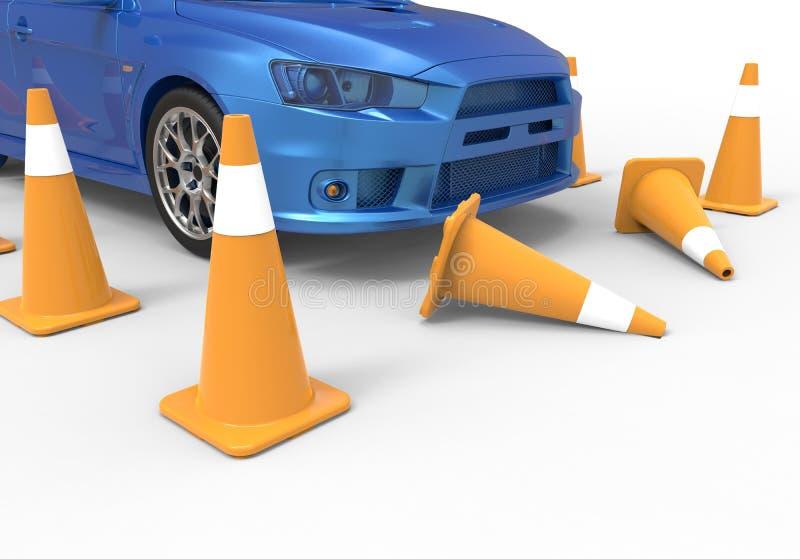 Auto, das zwei Verkehrskegel stößt stock abbildung