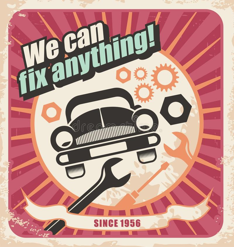 Auto de dienst retro affiche royalty-vrije illustratie