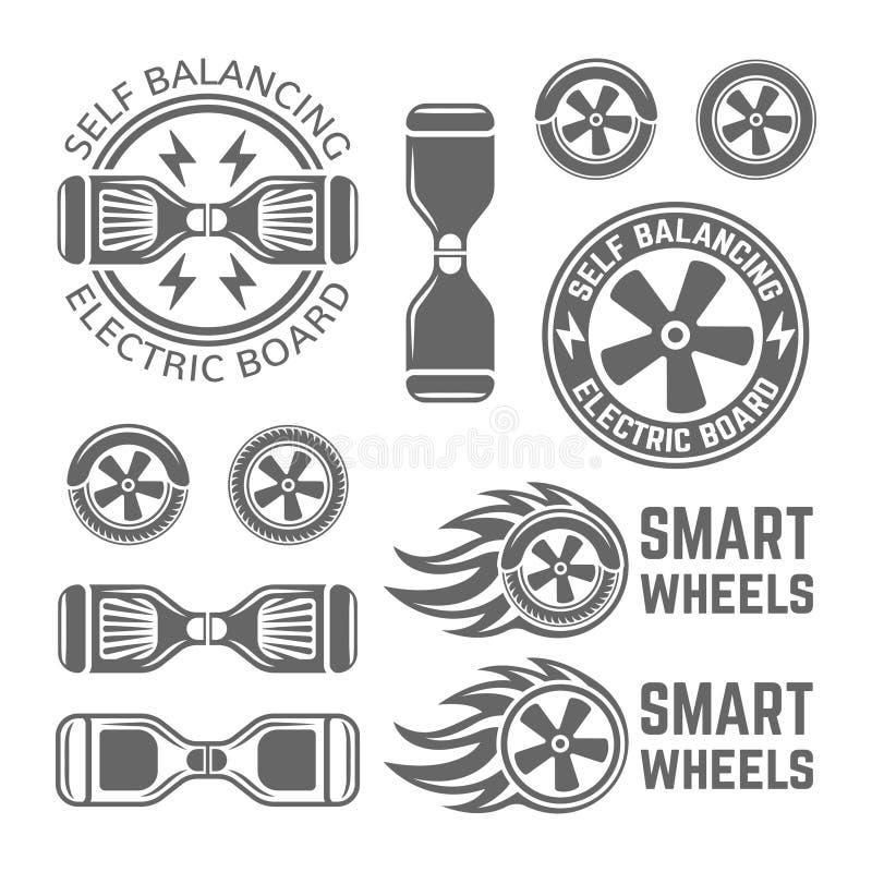 Auto de duas rodas que equilibra o grupo bonde do 'trotinette' ilustração royalty free
