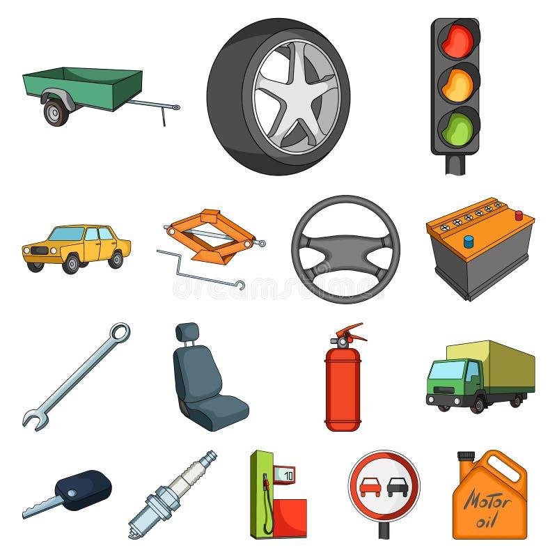 Auto, de pictogrammen van het voertuigbeeldverhaal in vastgestelde inzameling voor ontwerp Auto en materiaal vector het Webillust vector illustratie