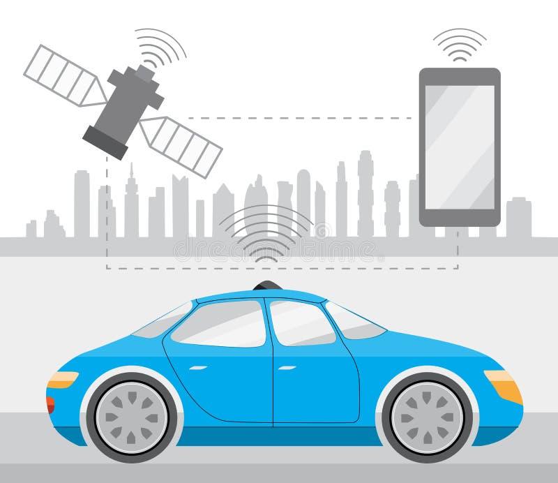 Auto de uno mismo-conducción robótico Driverless en ciudad stock de ilustración