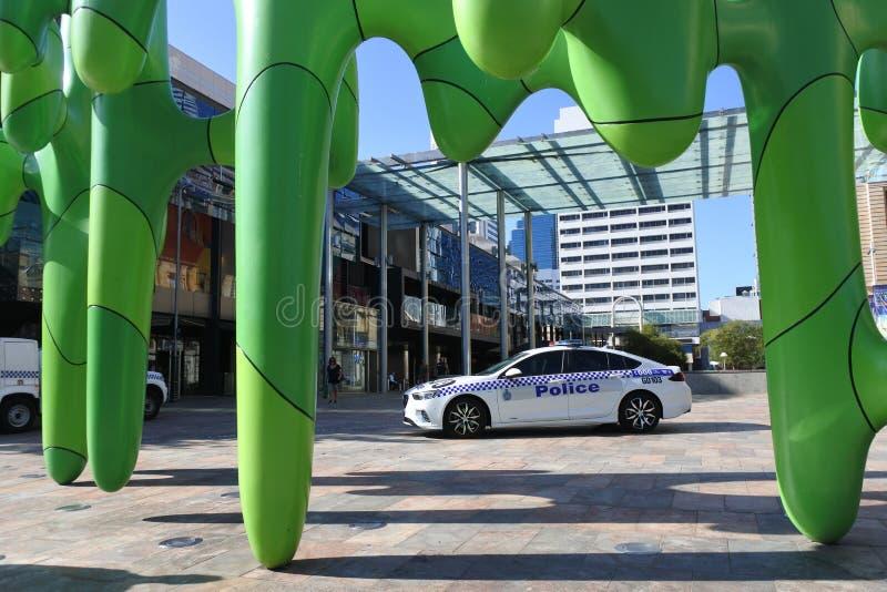 Auto della polizia dell'Australia Occidentale nel distretto finanziario di Perth fotografia stock