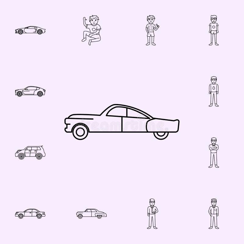 Auto der Ikone der F?nfziger Jahre Generationsikonen-Universalsatz f?r Netz und Mobile lizenzfreie abbildung