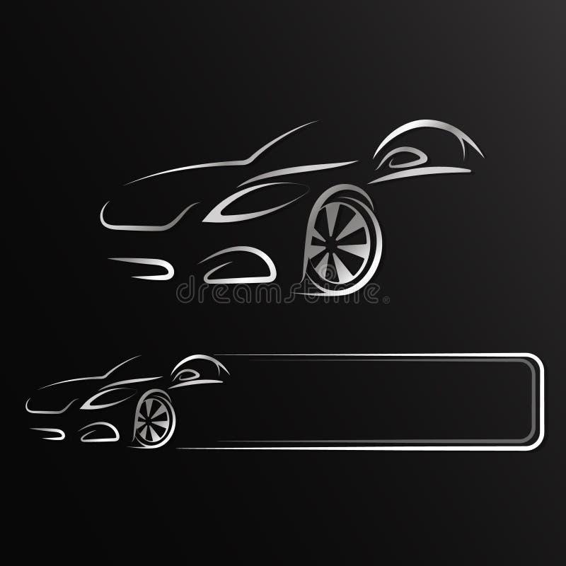Auto Design for Rent. Auto design silhouette for rent and repair vector illustration