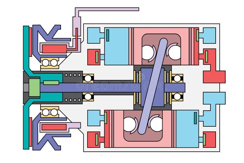 Auto diagrama esquemático do compressor do condicionador de ar imagem de stock