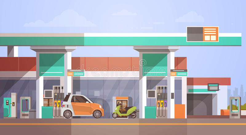 Auto die bij de Post van de Gasbenzine van brandstof voorzien stock illustratie