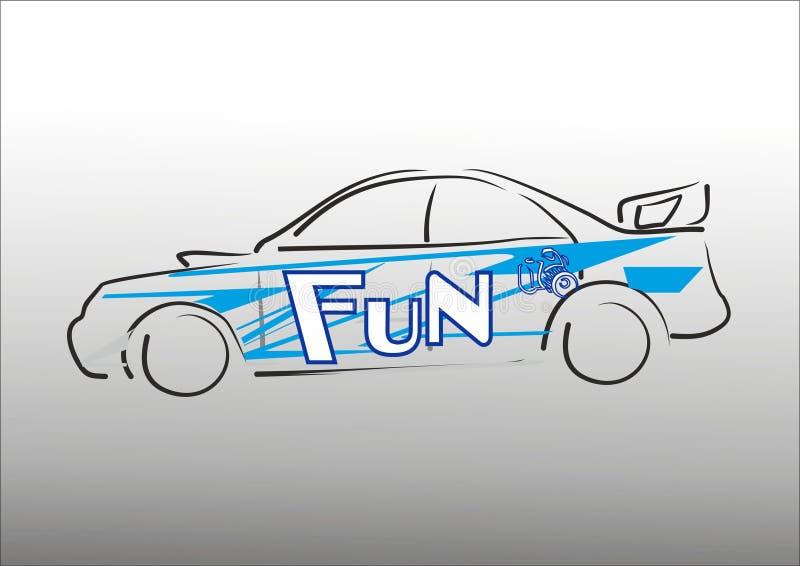 Auto die blauwe lijnen verpakken stock afbeelding