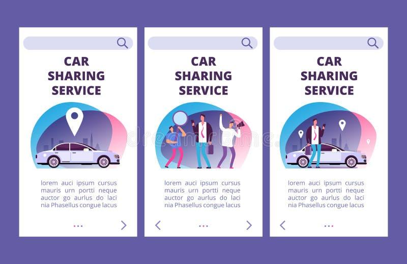 Auto die de pagina's vectormalplaatje delen van de de dienstmobiele toepassing royalty-vrije illustratie