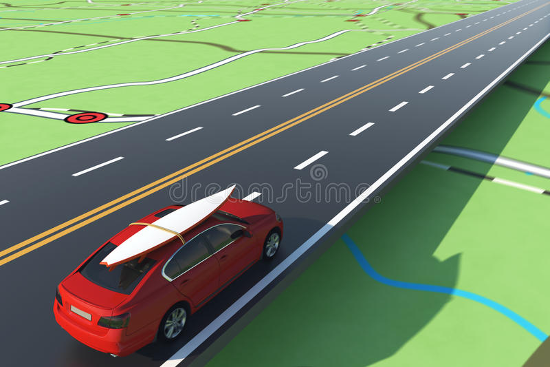 Auto die met bagage op de weg aan de zomervakantie wordt geladen het 3d teruggeven stock illustratie