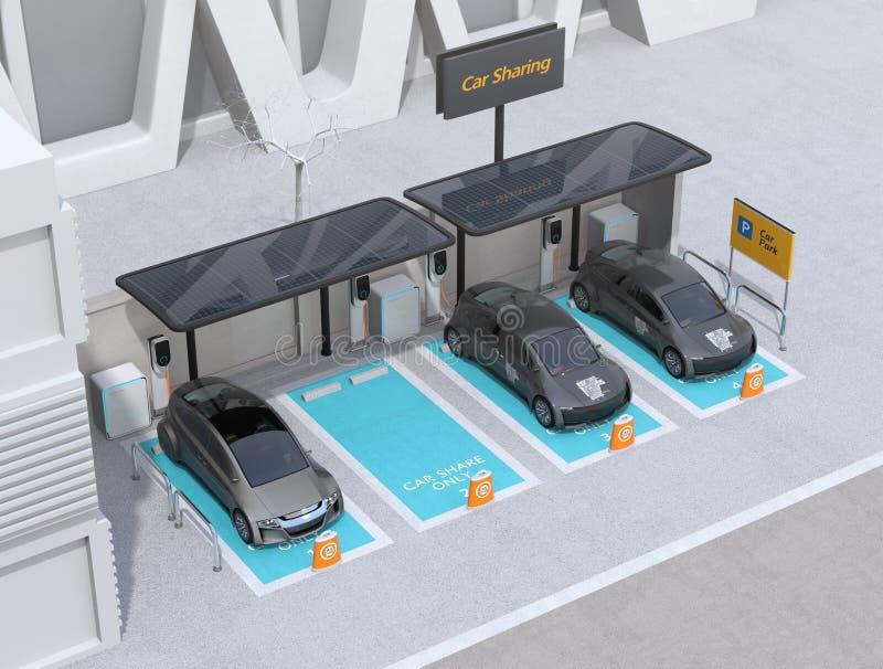 Auto die die parkeerterrein delen met zonnepanelen, het laden posten en batterijen wordt uitgerust royalty-vrije stock afbeeldingen