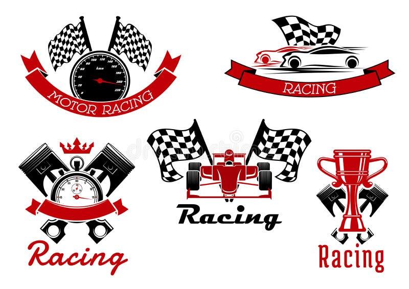 Auto die sportieve symbolen met raceauto's rennen royalty-vrije illustratie