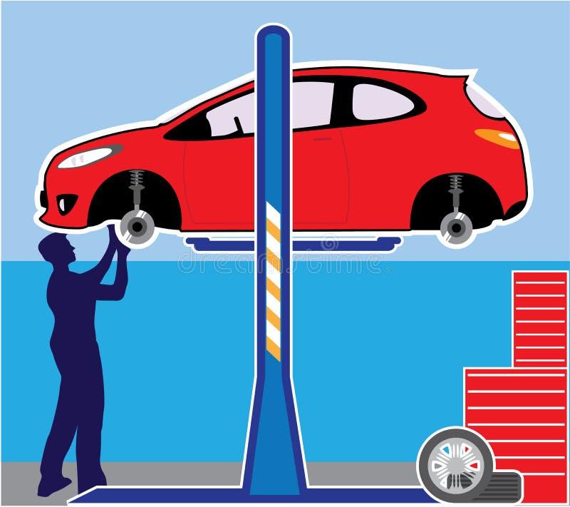 Auto in een workshop stock illustratie