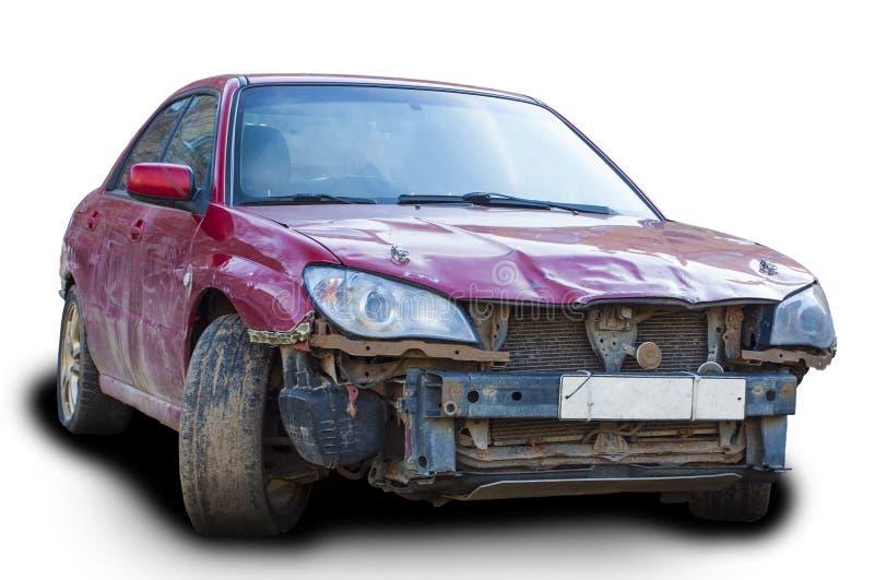 Auto in einem Unfall lokalisiert auf einem weißen Hintergrund lizenzfreies stockbild