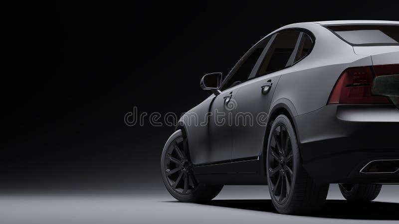 Auto eingewickelt im schwarzen Mattfilm Wiedergabe 3d stockbilder