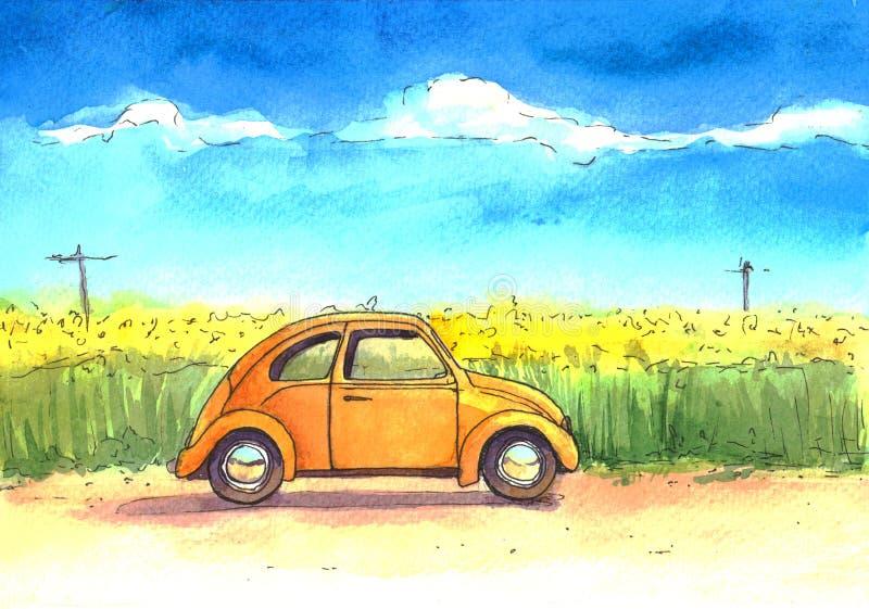Auto, ejemplo, acuarela, cielo, campo libre illustration