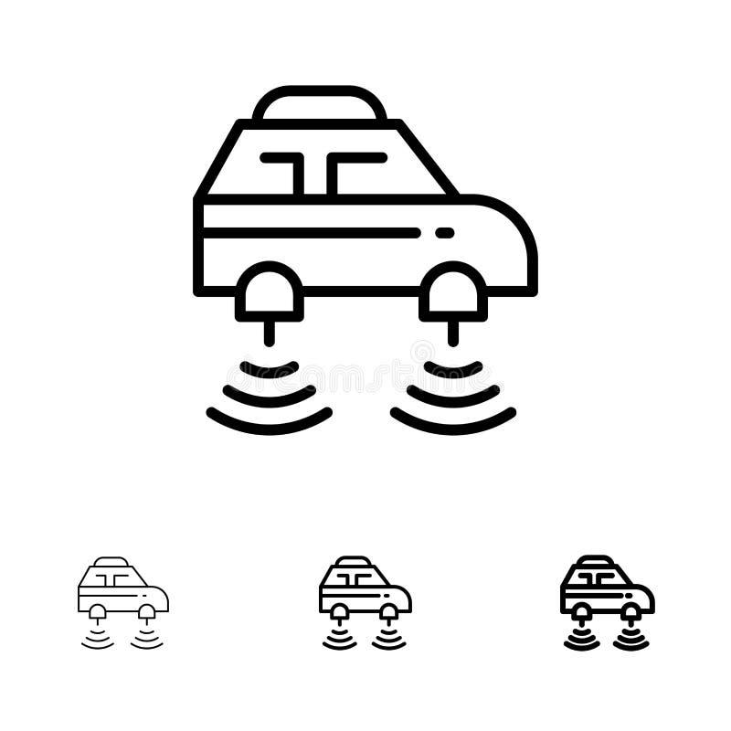 Auto, Elektrisch, Netwerk, Smart, het pictogramreeks van de wifi Gewaagde en dunne zwarte lijn stock illustratie