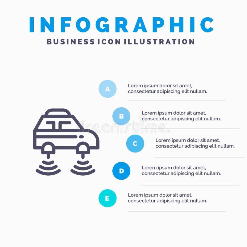 Auto, elektrisch, Netz, Smart, wifi Linie Ikone mit Hintergrund infographics Darstellung mit 5 Schritten vektor abbildung