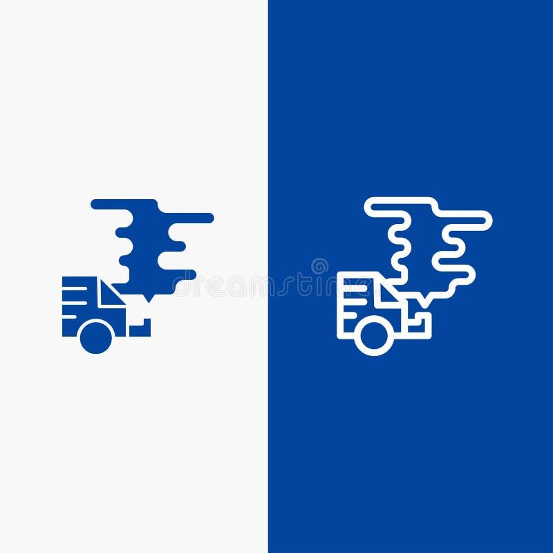 Auto, Auto, Emissie, Gas, Verontreinigingslijn en Lijn van de het pictogram Blauwe banner van Glyph de Stevige en Stevige het pic vector illustratie