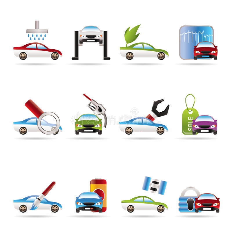 Auto en automobiel de dienstpictogram stock illustratie