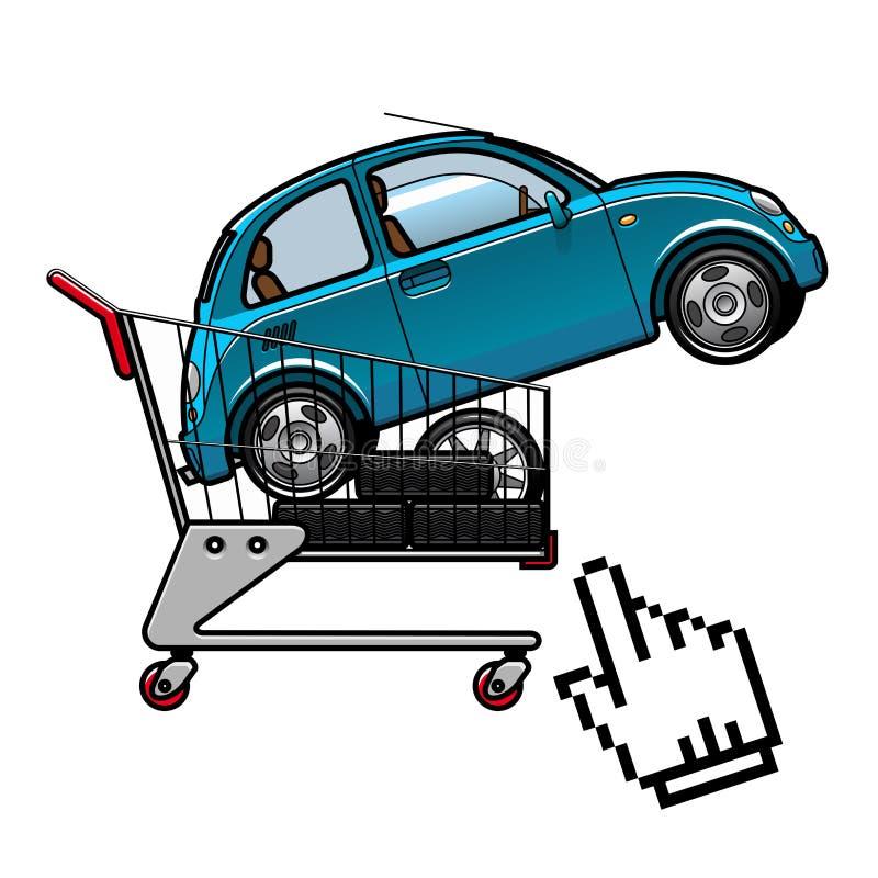 Auto en banden in een boodschappenwagentje vector illustratie
