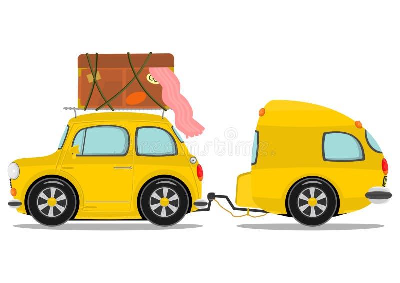 Auto en caravan vector illustratie
