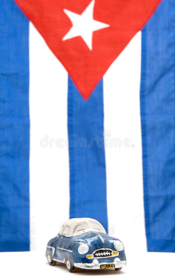 Auto en Cubaanse Vlag royalty-vrije stock afbeelding