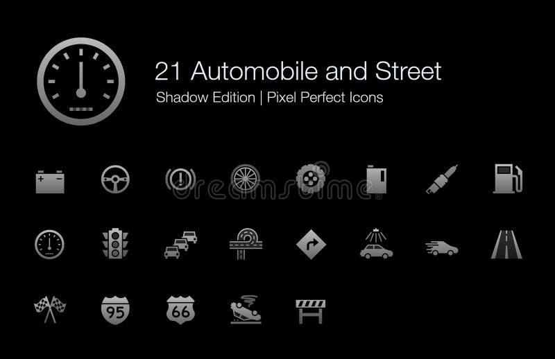 Auto en Straat de Schaduwuitgave van Pixel Perfecte Pictogrammen vector illustratie