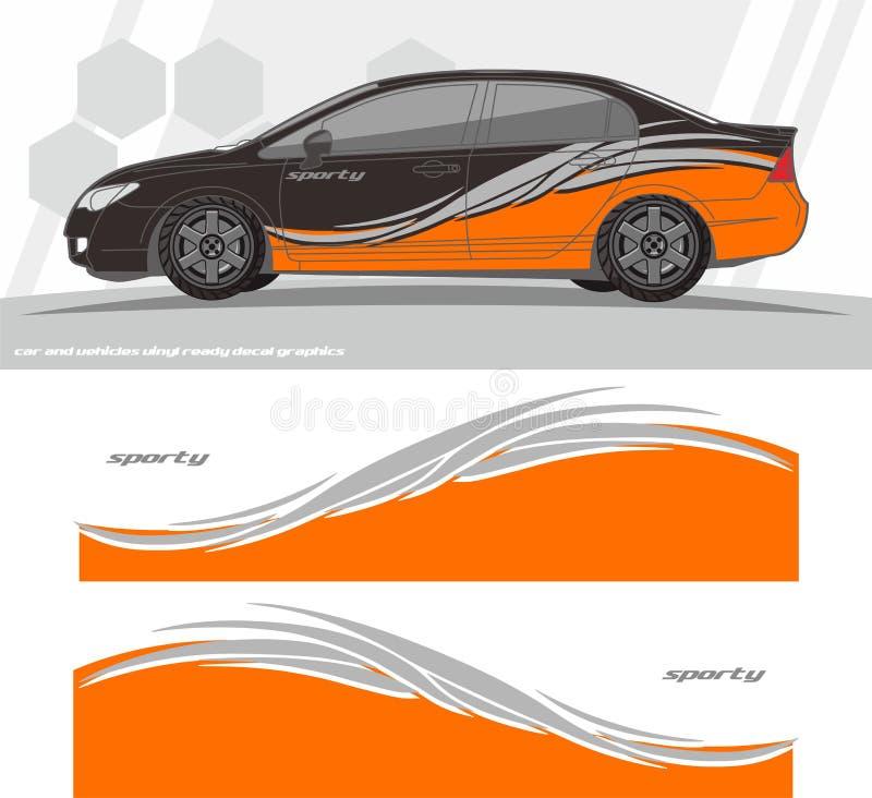 Auto en van het voertuigenoverdrukplaatje de ontwerpen van de Grafiekuitrusting klaar te drukken en besnoeiing voor vinylstickers royalty-vrije illustratie