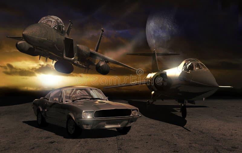 Auto en vliegtuigen royalty-vrije illustratie