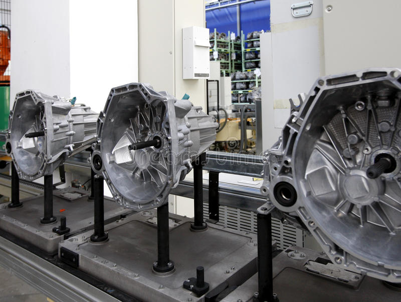 Auto Engines factory. Interior with spare parts production unit stock photos