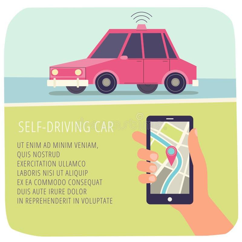 Auto-entraînement de la voiture Navigateur en main Illustration de vecteur D'isolement sur le blanc illustration de vecteur