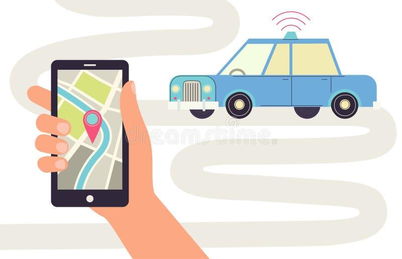 Auto-entraînement de la voiture, téléphone avec le navigateur illustration stock