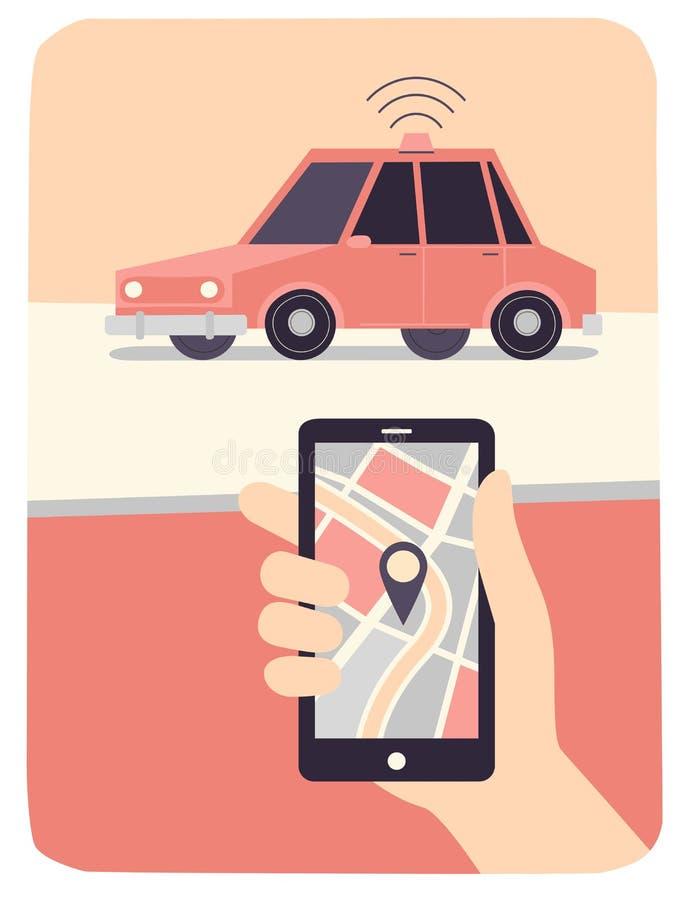 Auto-entraînement du concept de voiture Téléphone en main illustration stock