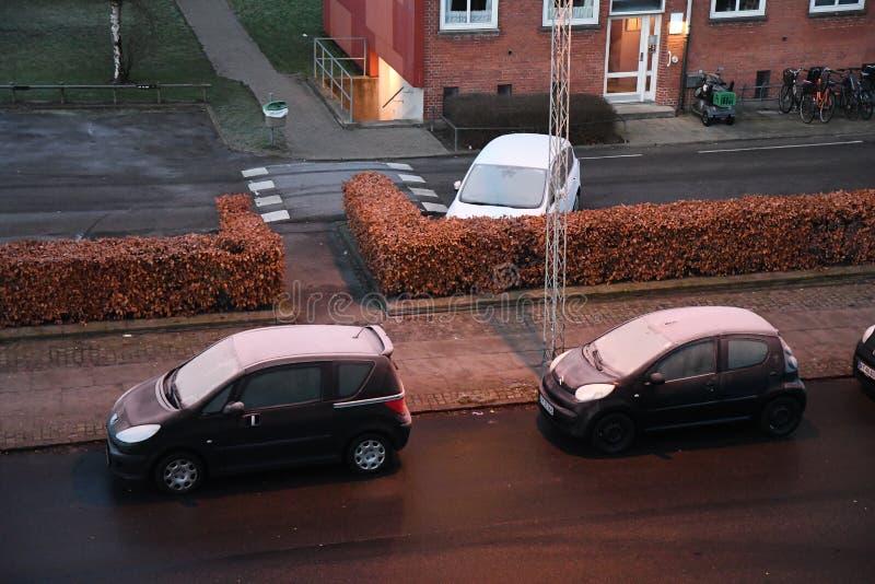 Auto erly bedeckt mit Frost Dänemarks Wetter stockbild