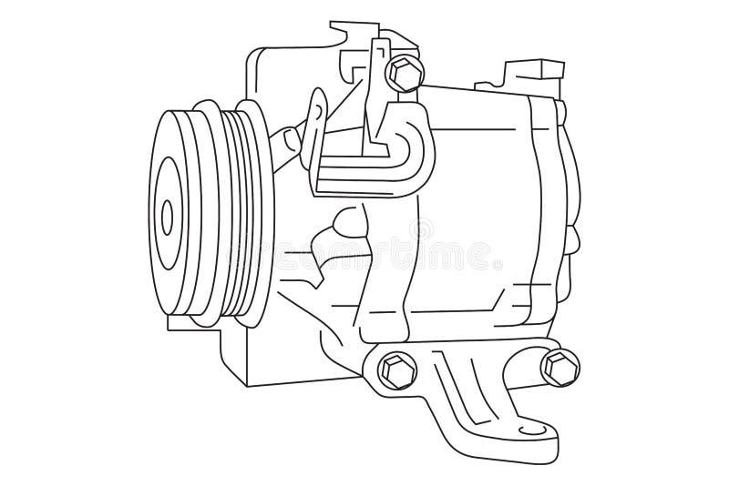 Auto esboço do compressor do condicionador de ar foto de stock